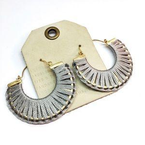 NWT Anthropologie grey hoop earrings